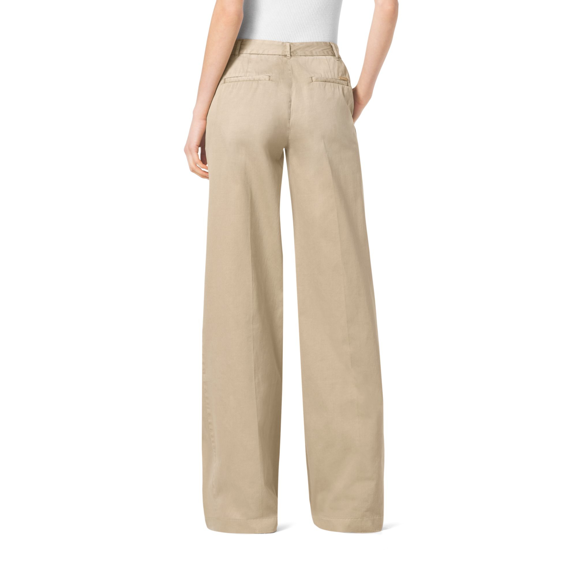 Michael kors Wide-leg Chino Trousers in Natural | Lyst
