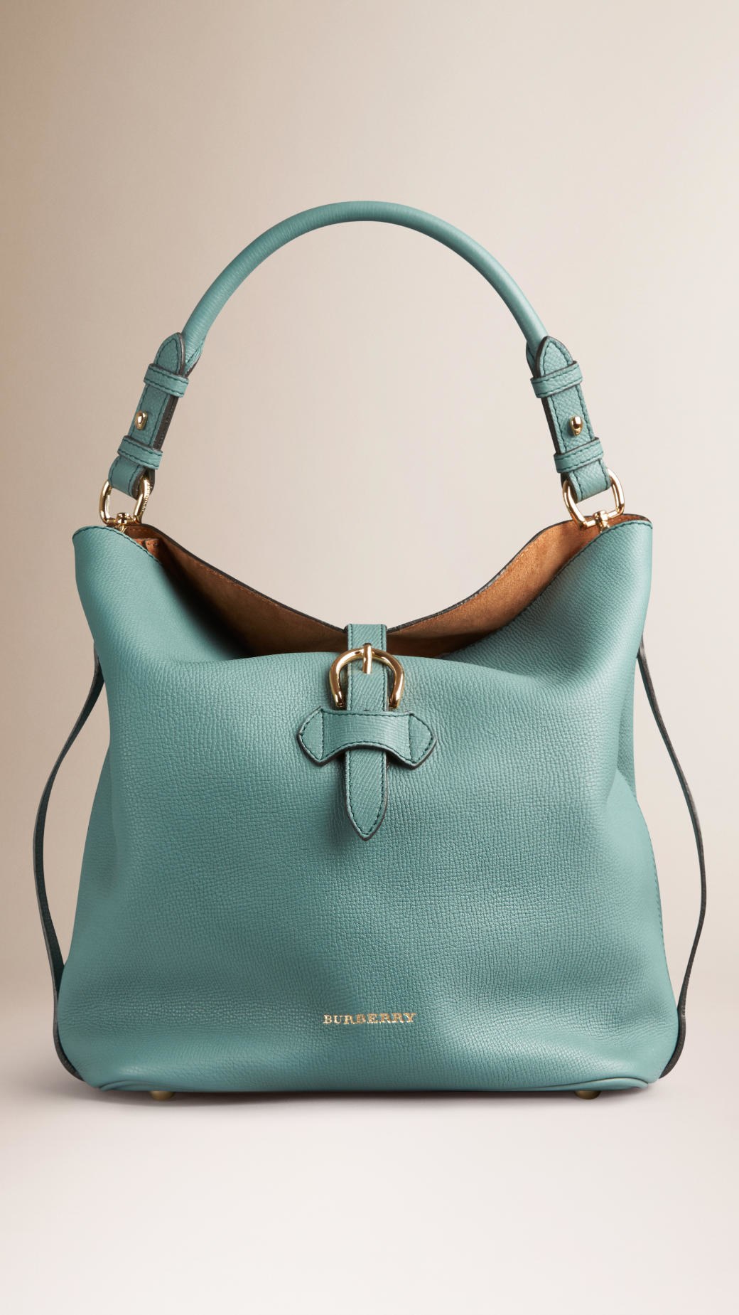 Burberry Medium Buckle Detail Leather Hobo Bag in Green | Lyst