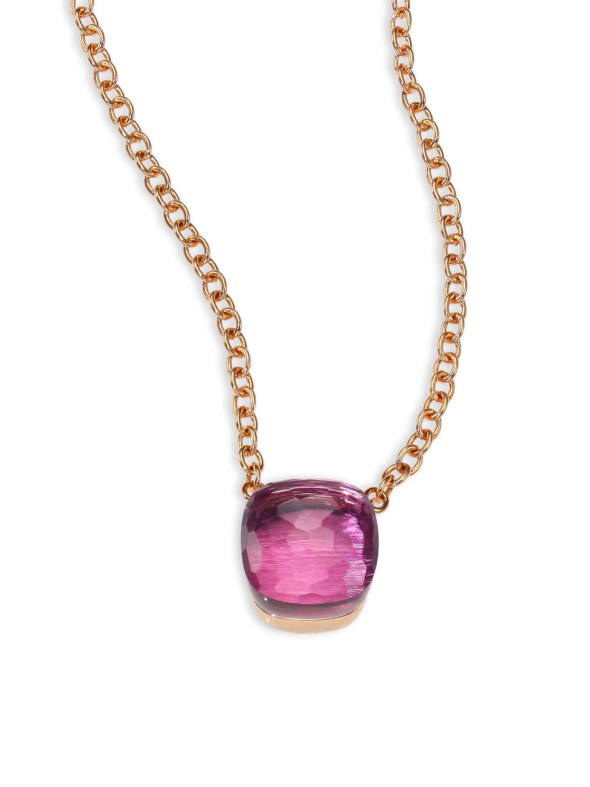 pomellato amethyst 18k gold pendant necklace in