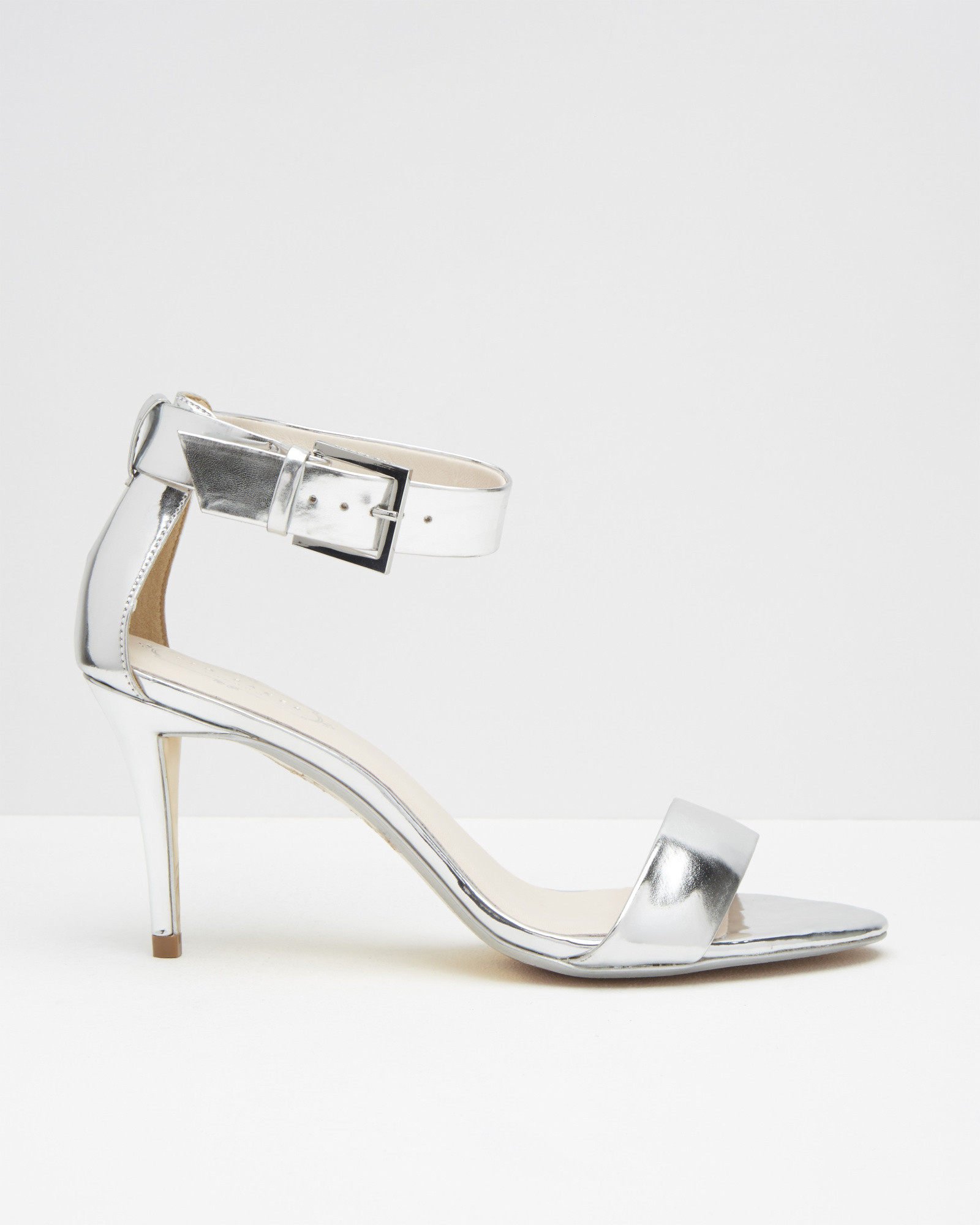 4a0794d21757 Lyst - Ted Baker Ankle Strap Leather Sandals in Metallic