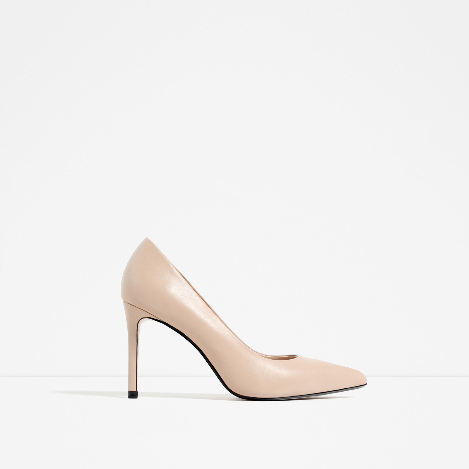 Zara Leather High Heel Shoes in Natural | Lyst