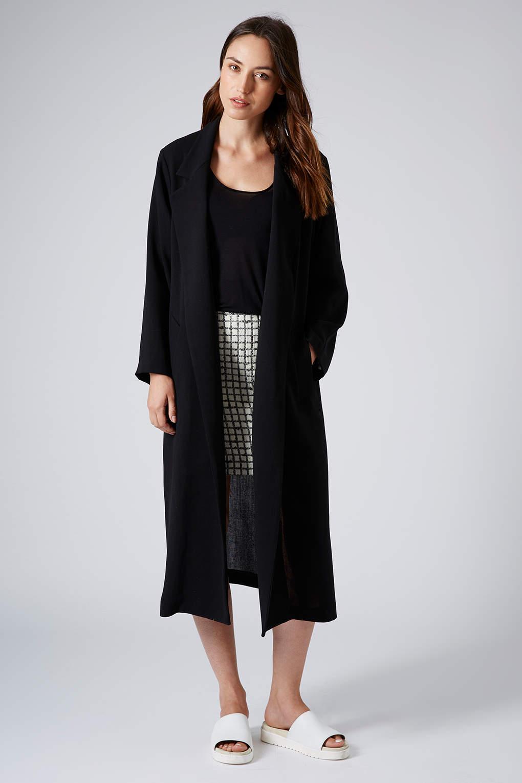 Topshop Summer Light Wool Coat in Black | Lyst