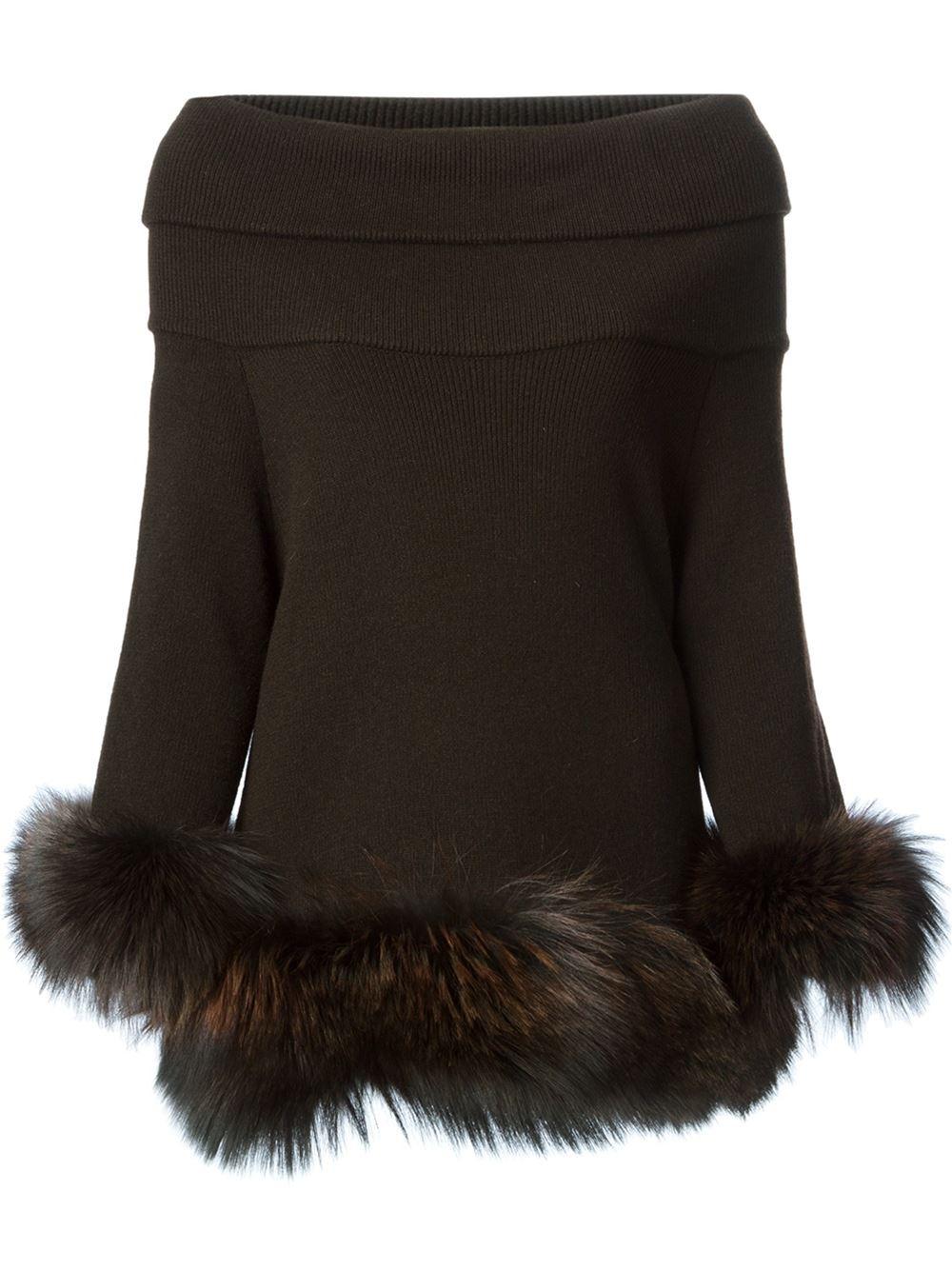 Vicedomini Fox Fur Hem And Cuffs Sweater in Brown | Lyst