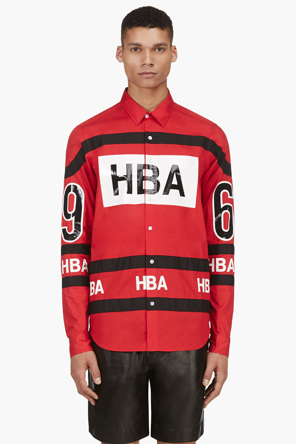 Hood by air Red and Black Hockey Button Down Shirt in Red for Men ...