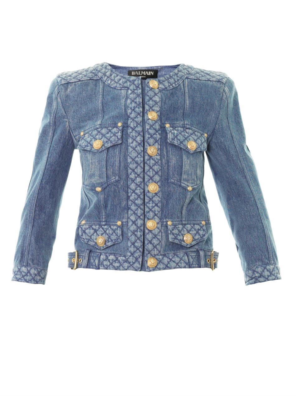 Lyst Balmain Denim Jacket In Blue