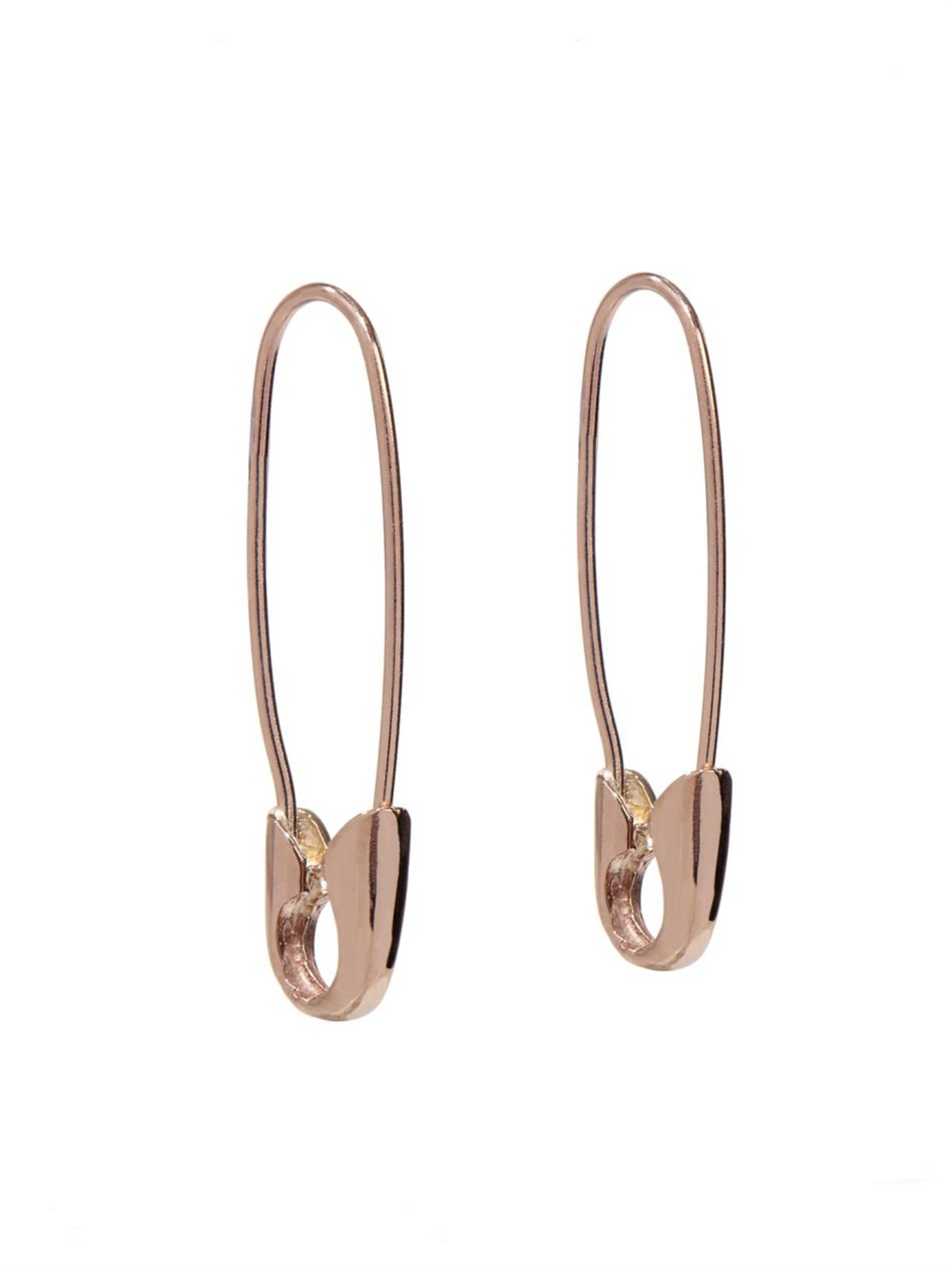 Loren Stewart Rose Gold Safety Pin Earrings In Pink Lyst