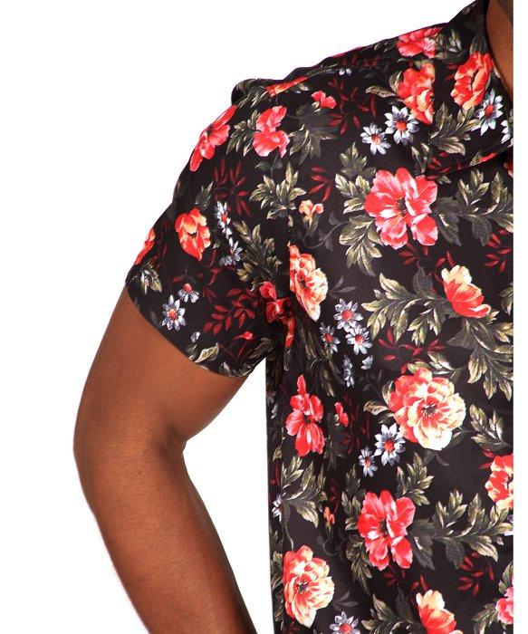 Mens Black Floral Shirt Artee Shirt