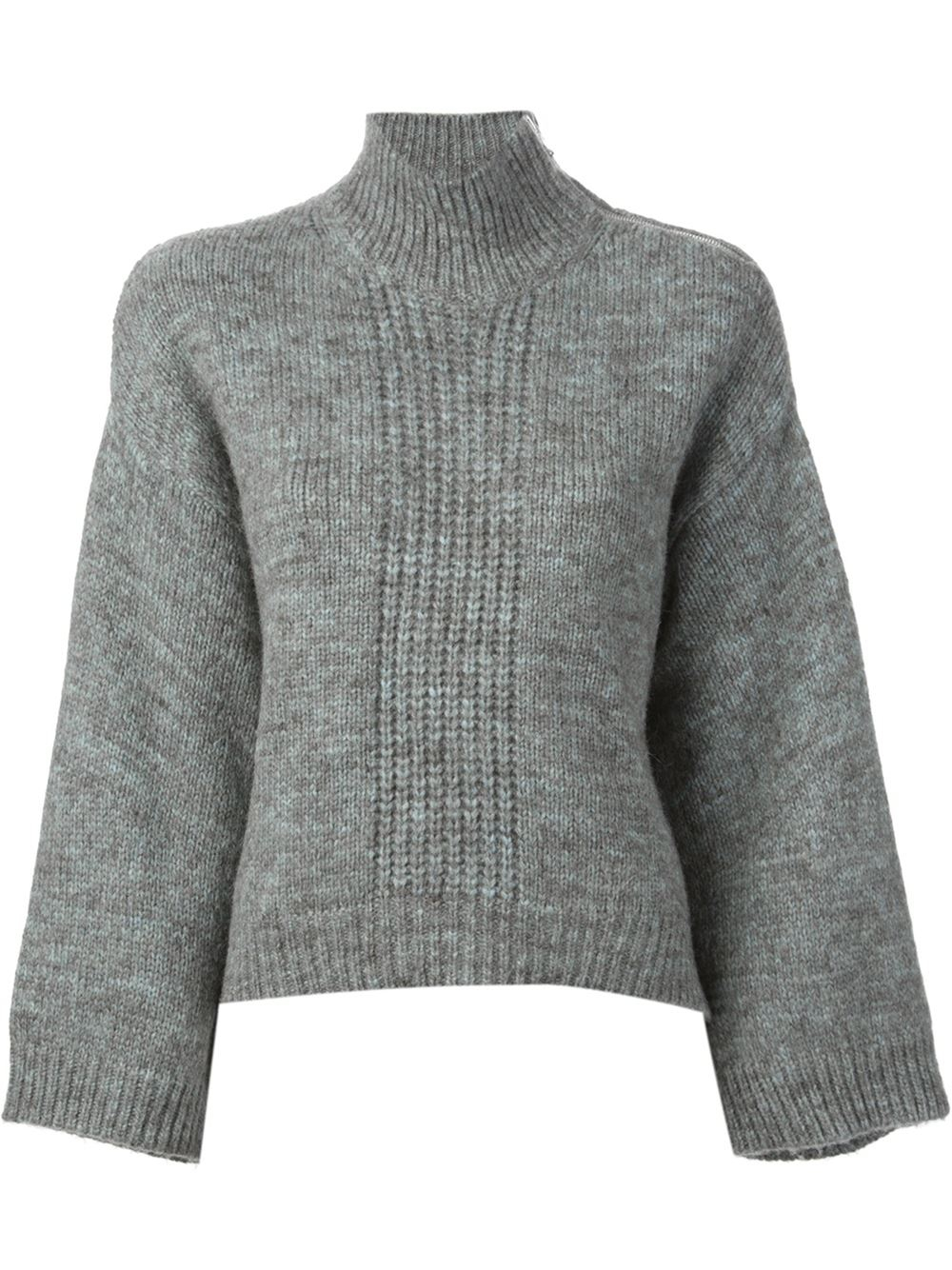 3.1 phillip lim Cropped Boxy Sweater in Gray | Lyst