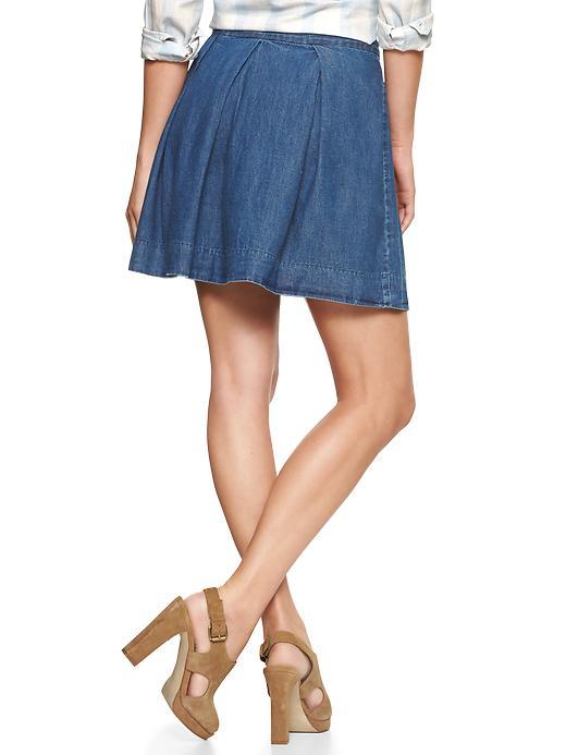 gap pleated denim mini skirt in blue cypress lyst