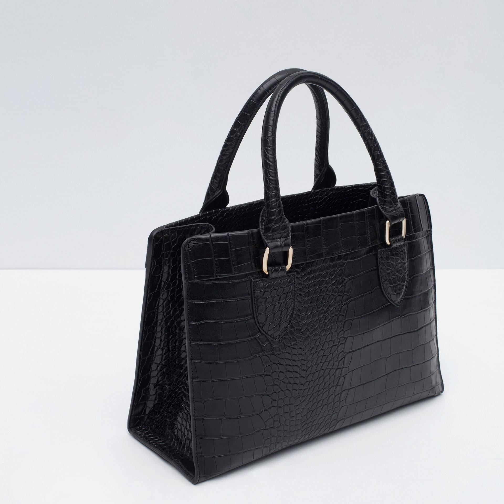 celine handbag cost - Zara Mock Croc City Bag in Black | Lyst