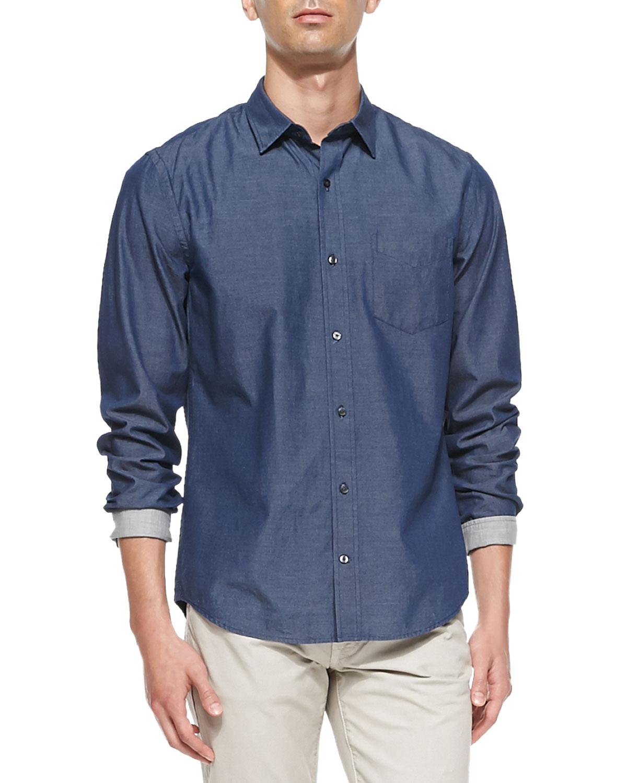 Vince denim button down shirt in blue for men denim lyst for Denim button down shirts
