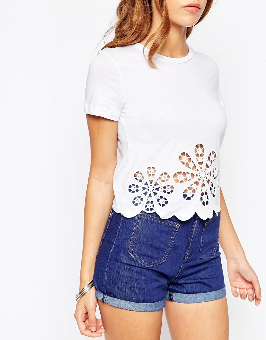 Lyst asos petite premium t shirt with floral cutwork hem for Petite white tee shirt