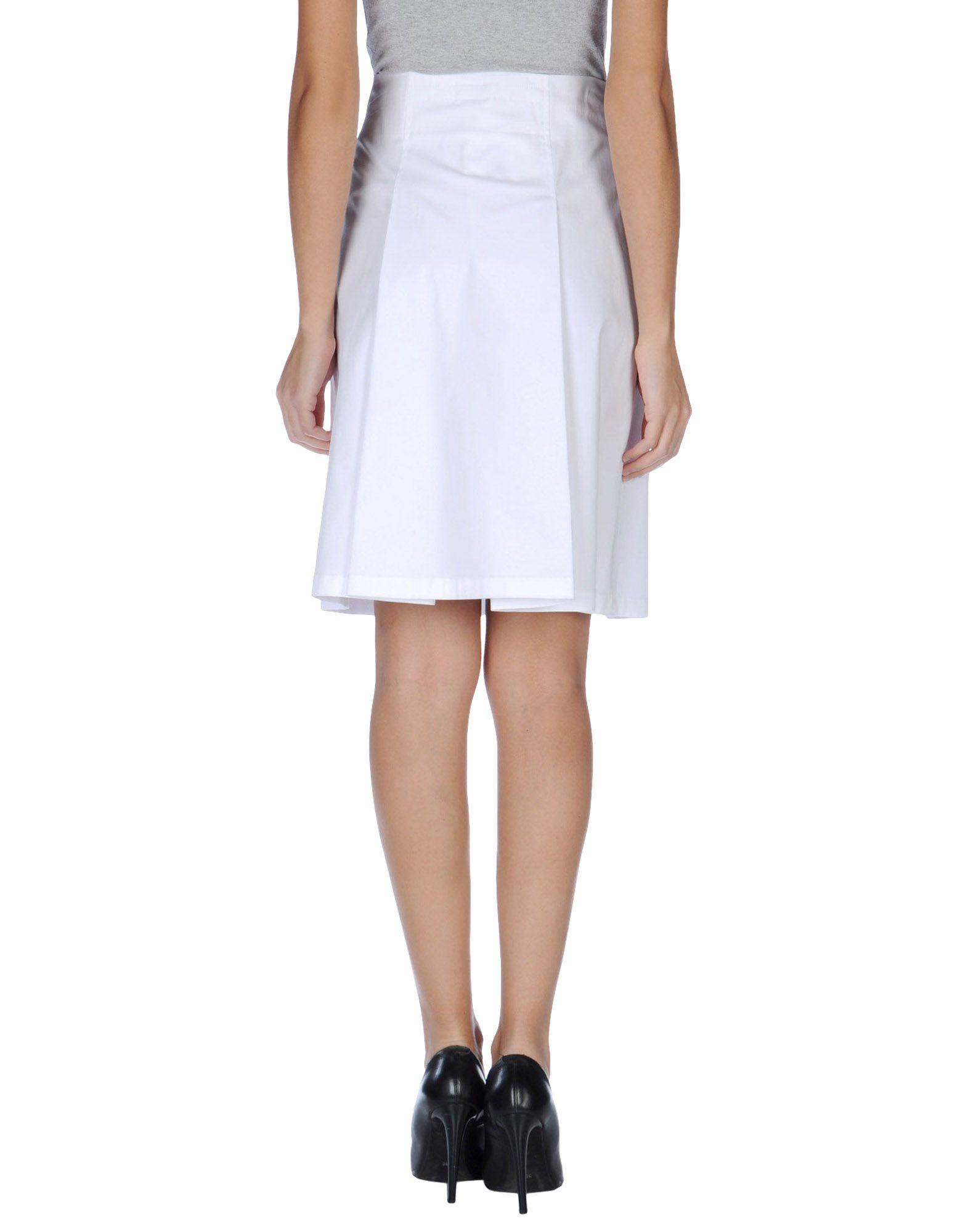 jil sander navy white knee length skirt lyst