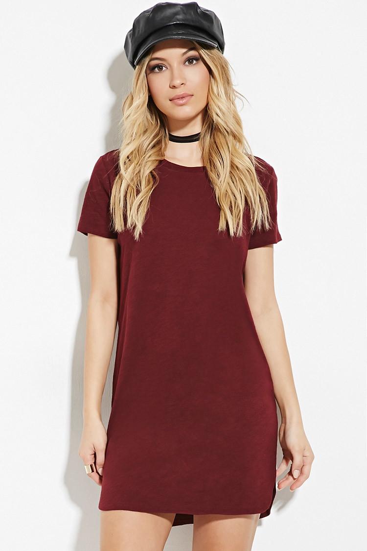 Lyst Forever 21 Slub Knit T Shirt Dress In Purple