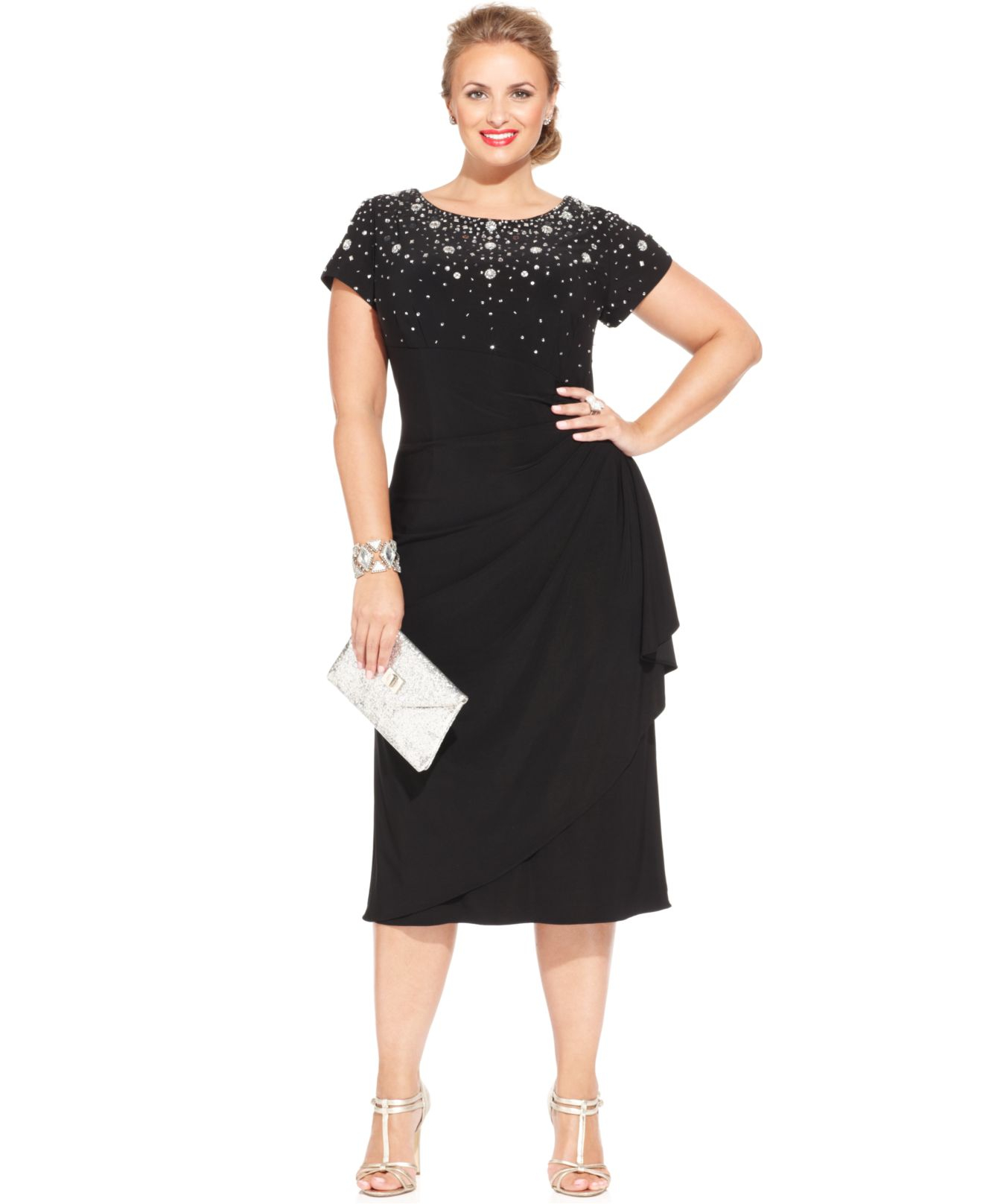 45d35775 Alex Evenings Plus Size Beaded Tiered Dress in Black - Lyst