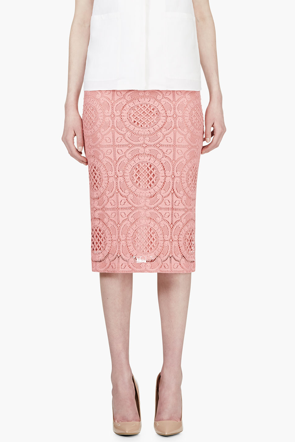 Burberry Prorsum Pink Lace Overlay Pencil Skirt in Pink | Lyst