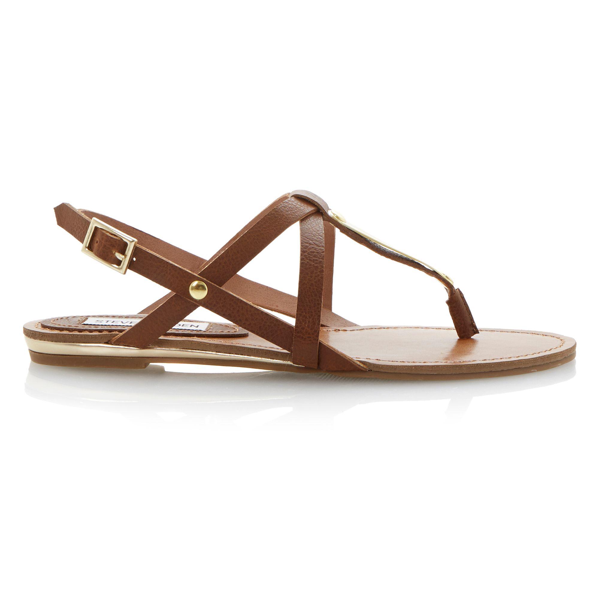 steve madden junyaa flat sandals in brown lyst. Black Bedroom Furniture Sets. Home Design Ideas