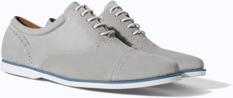 Zara Slim Leather Nautical Shoes in Gray for Men (Grey