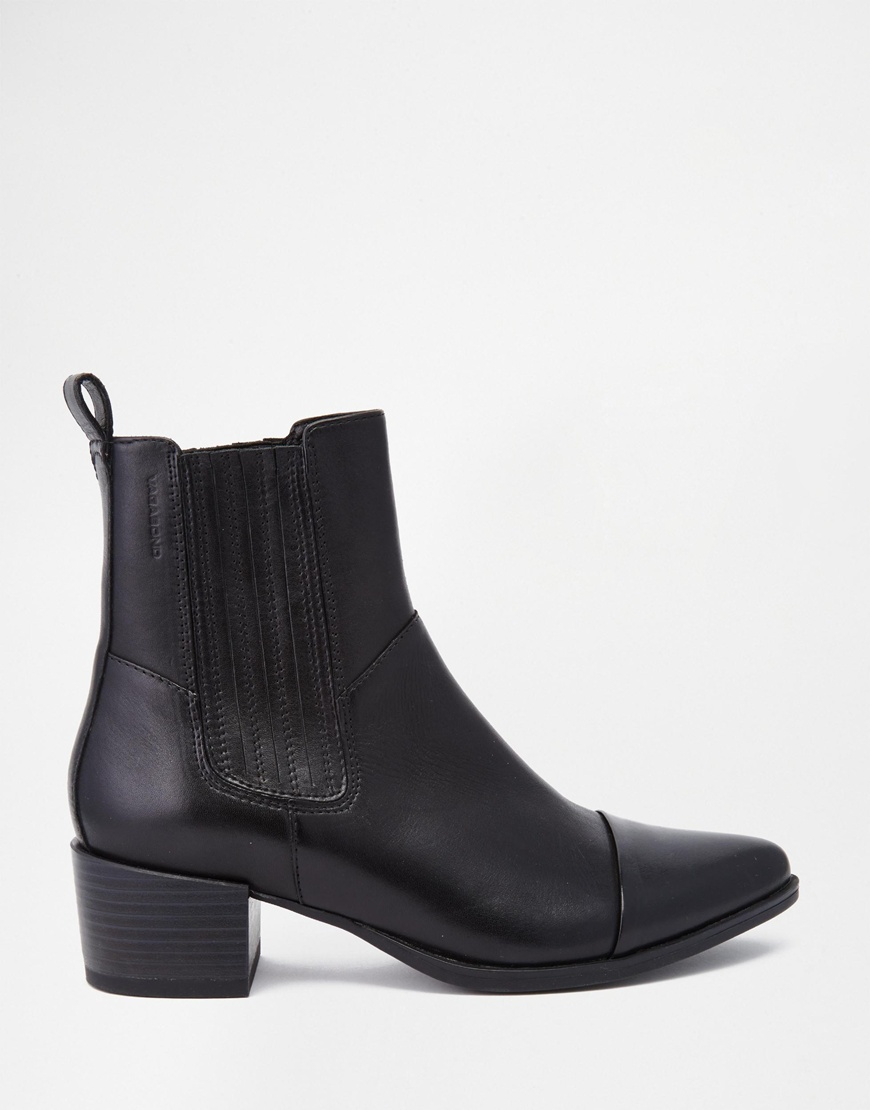 vagabond emira leather high ankle boots in black lyst