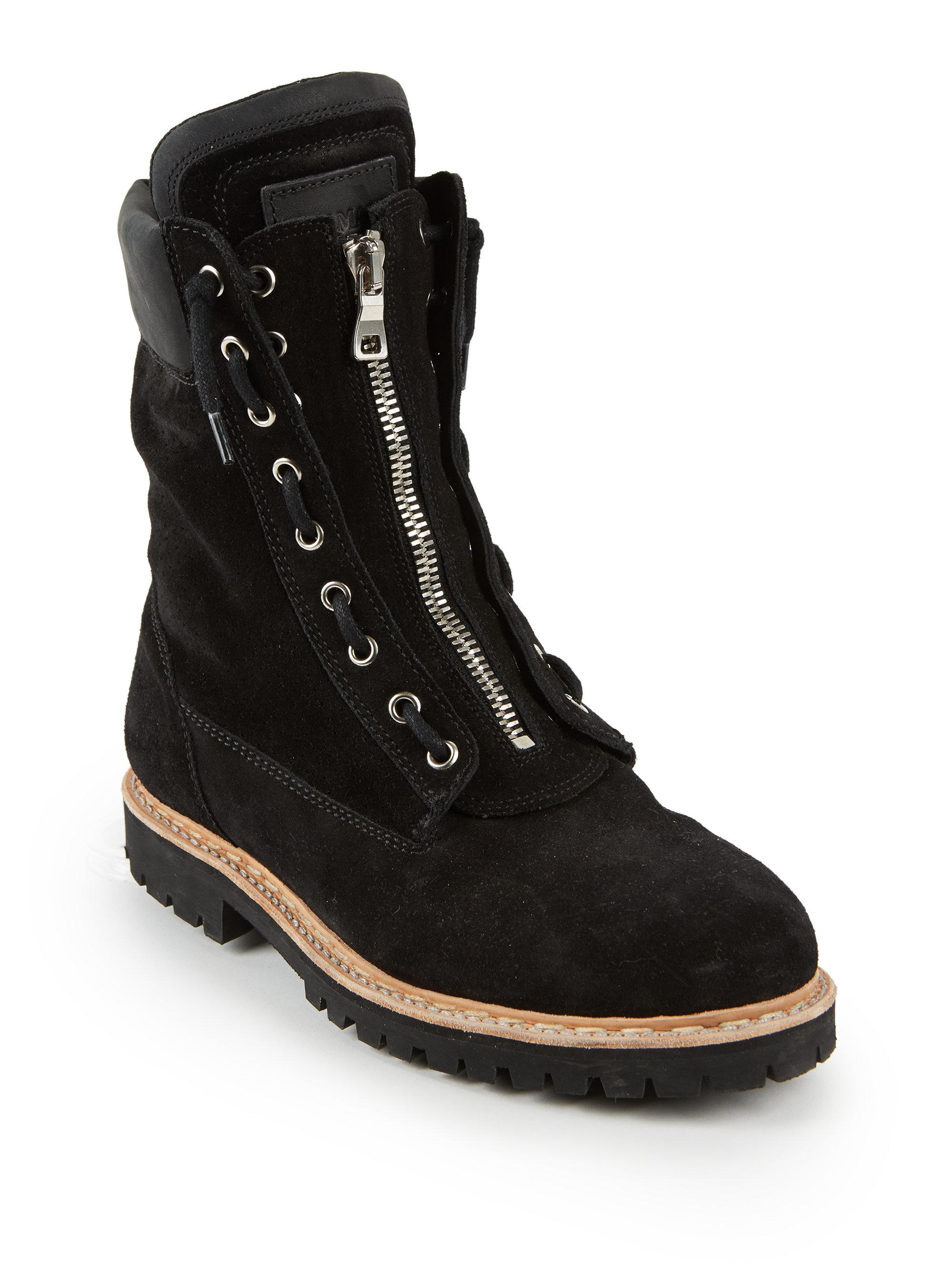 Black Zip Ties >> Balmain Taiga Leather and Velvet Combat Boots in Black for ...