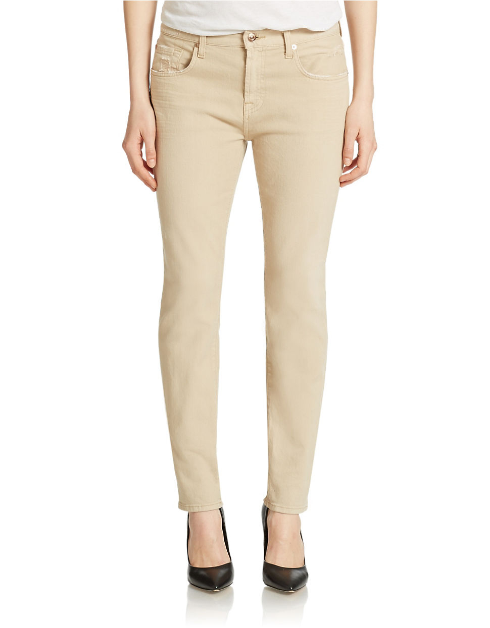 f852926ef58 7 For All Mankind Relaxed Skinny Jeans in Natural - Lyst