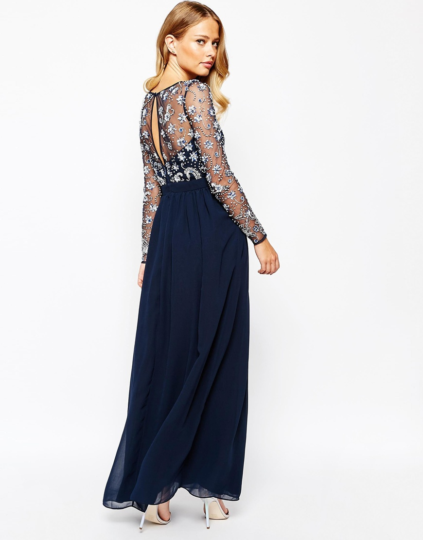 Frock and frill Heavily Embellished Maxi Dress With Long ...