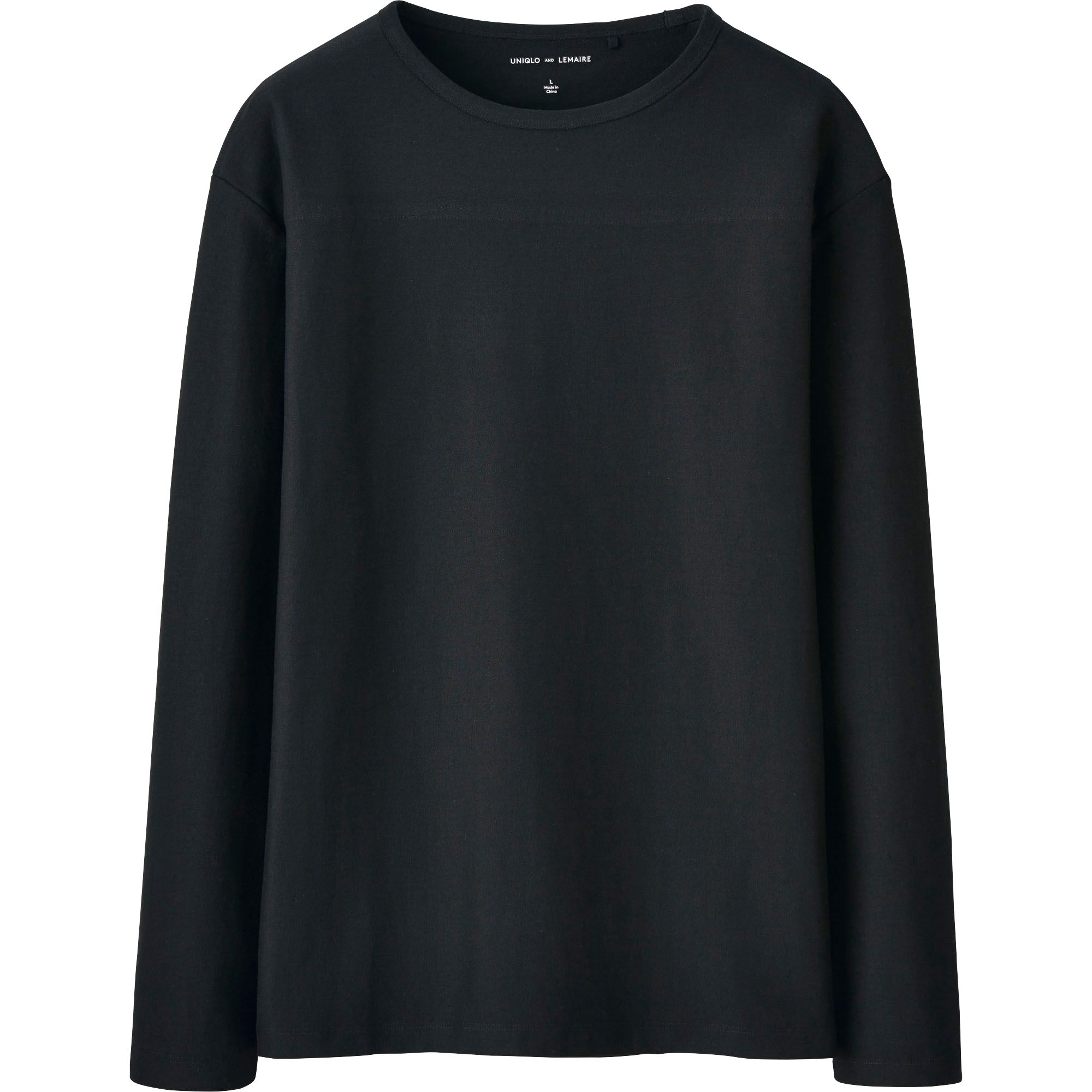 Uniqlo Men Lemaire Boat Neck Long Sleeve T Shirt In Black
