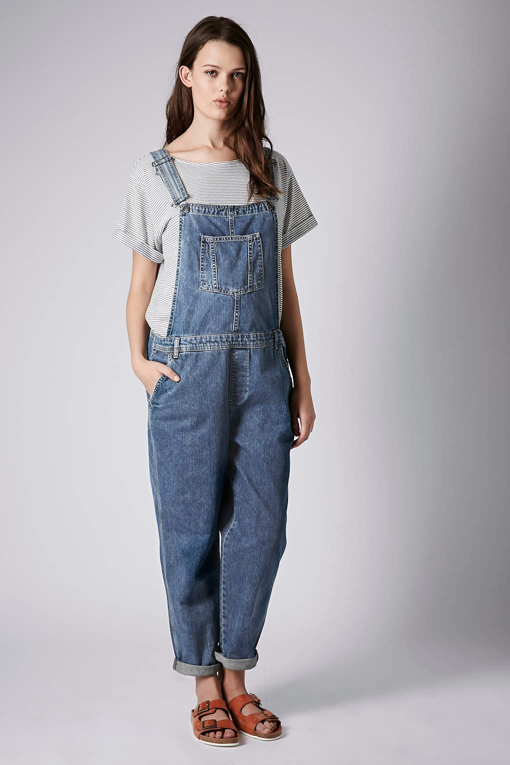 Lyst Topshop Maternity Moto Denim Long Leg Dungarees In Blue