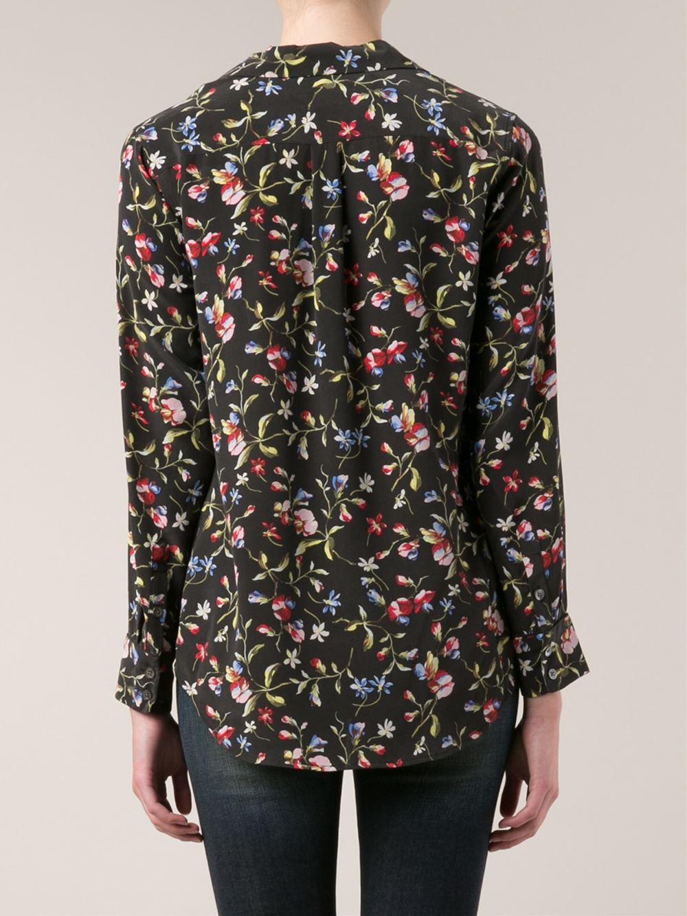 Equipment daddy metallic silk blend jacquard shirt in for Equipment black silk shirt
