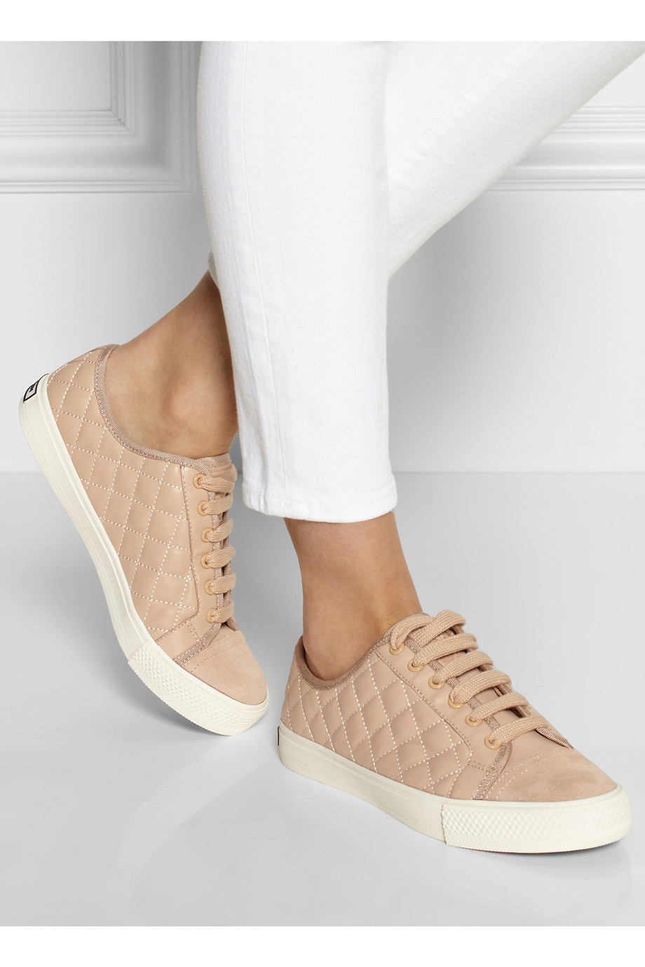 tory burch caspe quilted leather sneakers in pink lyst