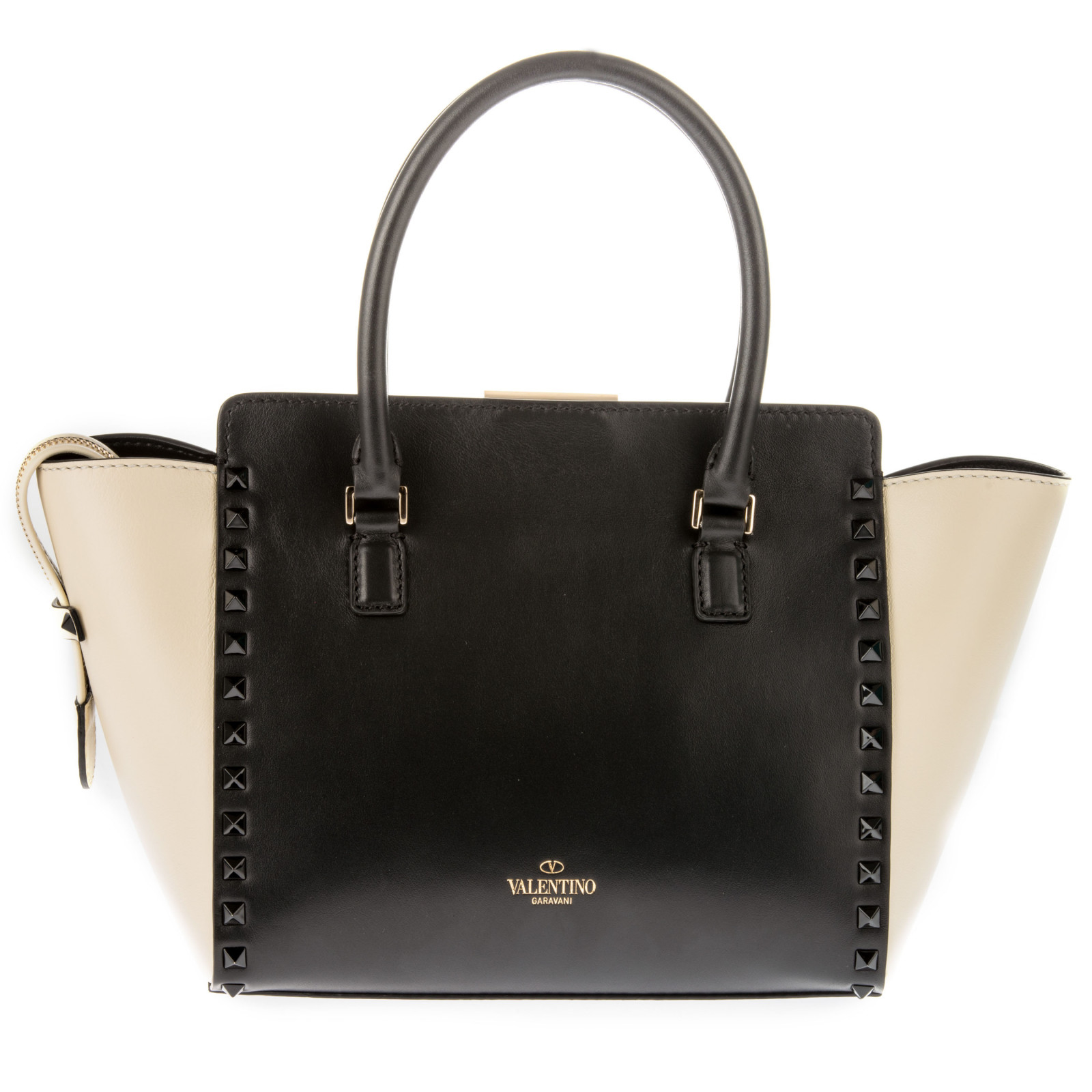 Valentino   Black And White Leather Handle Bag   Lyst
