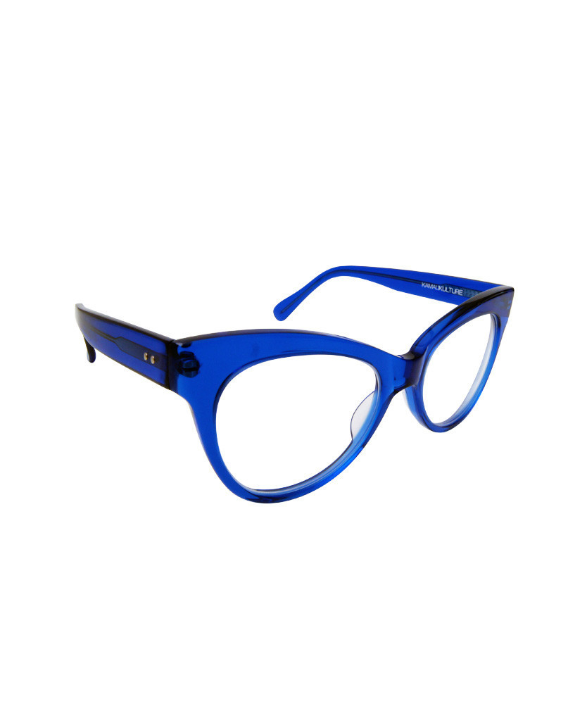 norma kamali square cat eye glasses cobalt in blue lyst