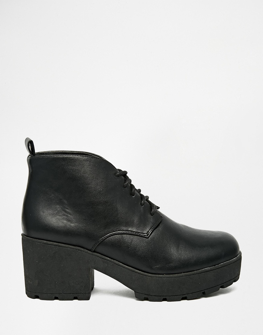 1c846b648 ASOS Raquet Chunky Lace Up Ankle Boots in Black - Lyst