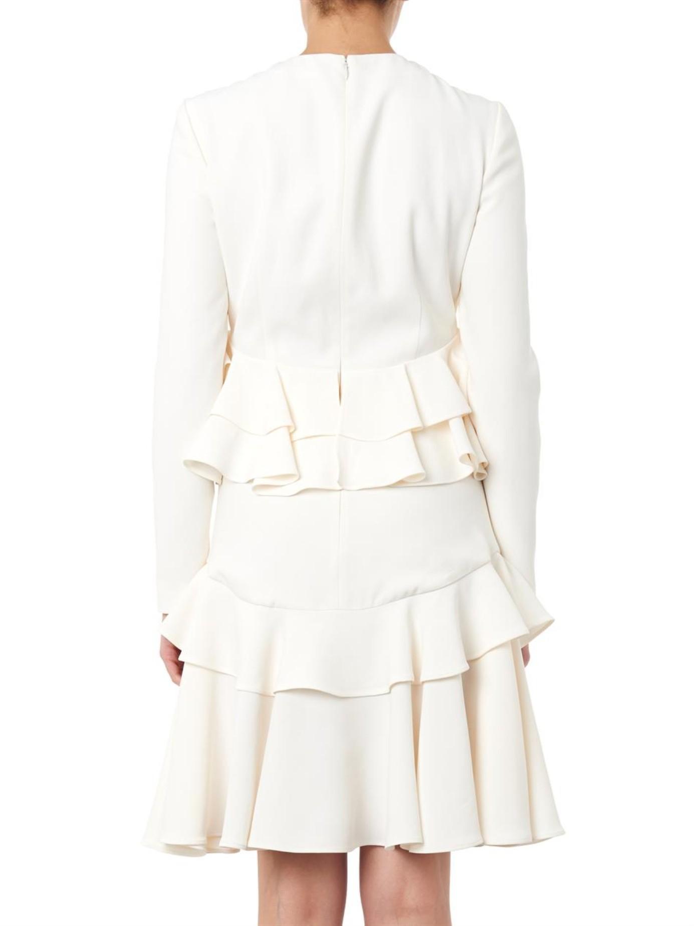 asymmetric ruffled dress - White Alexander McQueen Popular And Cheap sWcCsfj8f