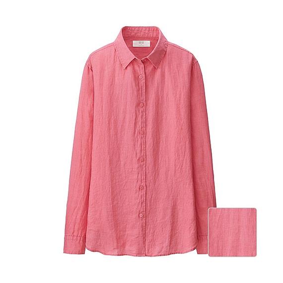 Uniqlo Women Premium Linen Long Sleeve Shirt In Pink Lyst