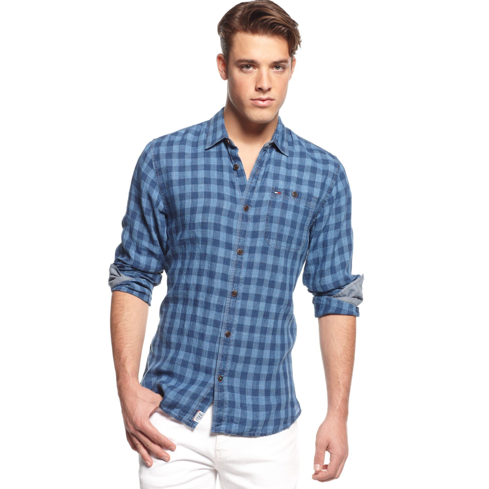 e7835fcd Tommy Hilfiger Checkered Linen Shirt Hilfiger Denim Collection in ...