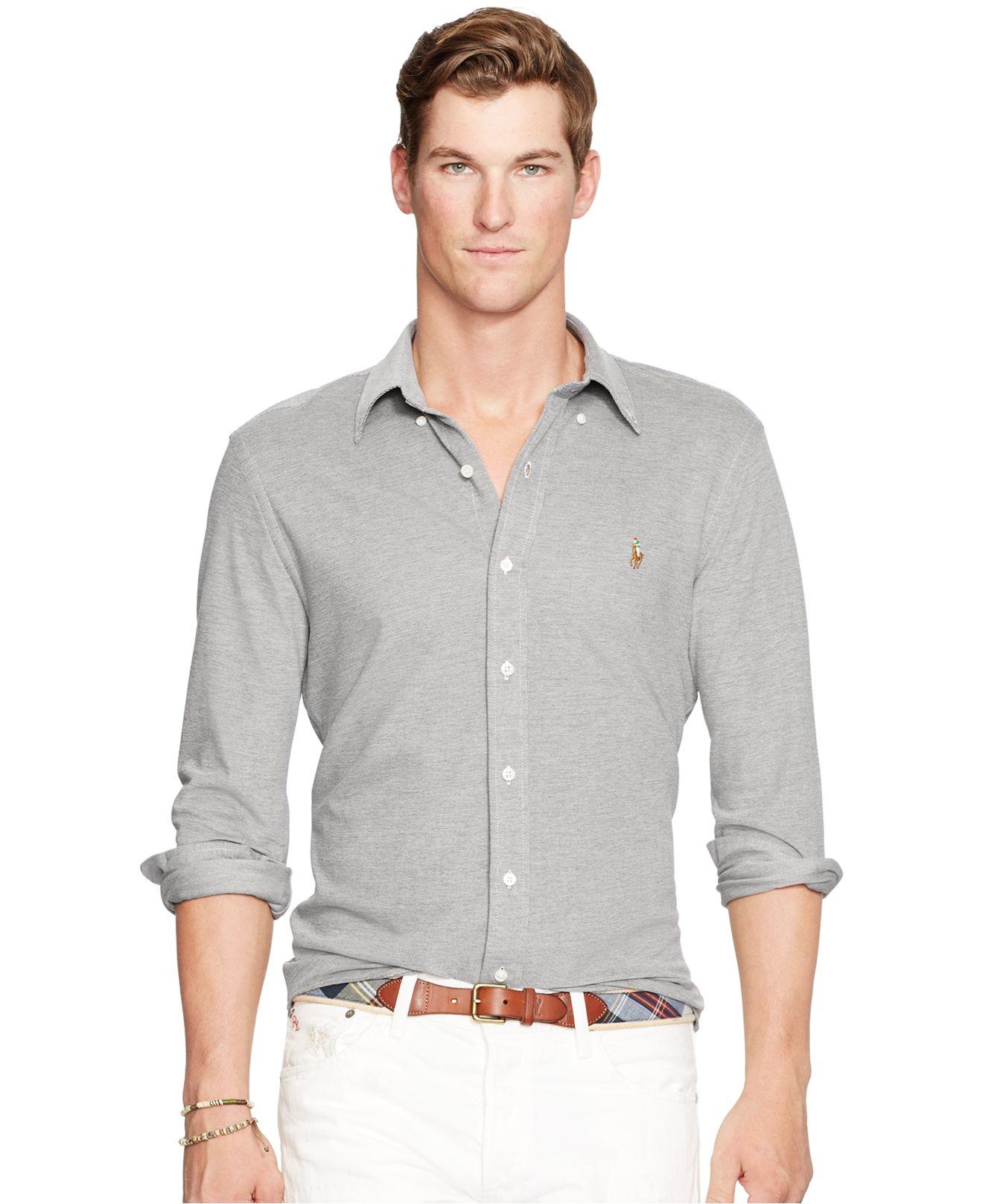 984316f90 Polo Ralph Lauren Knit Oxford Shirt in Black for Men - Lyst