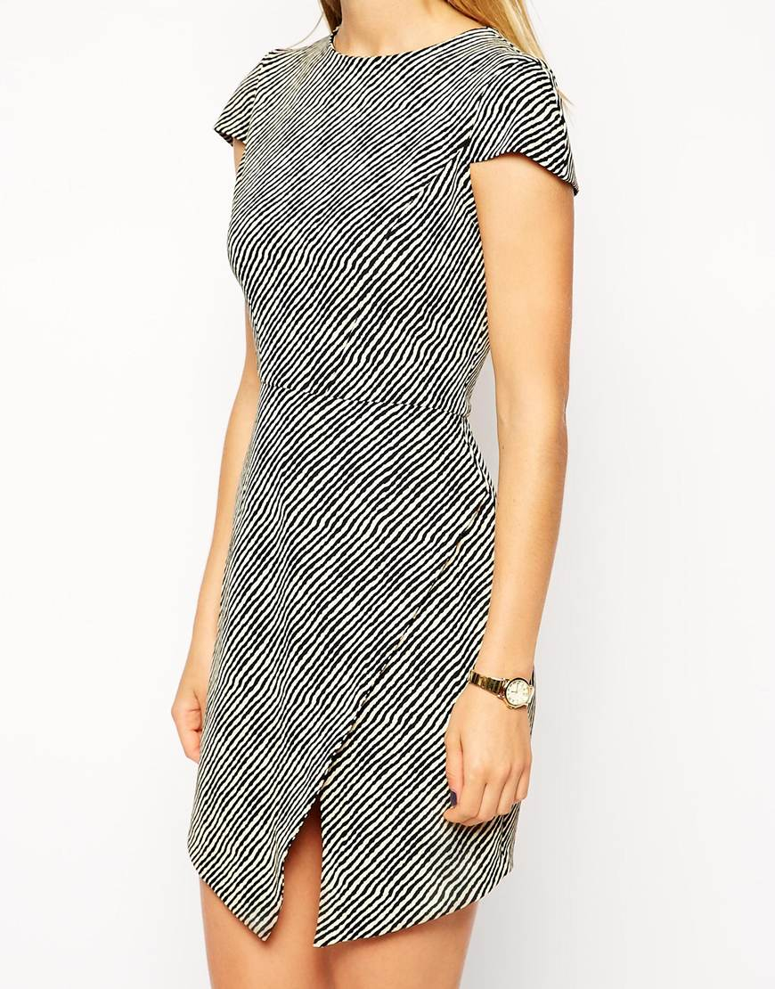Lyst Asos Shift Dress In Crepe Stripe Print With