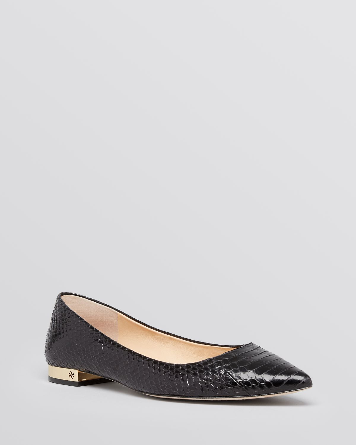 e3d2efb0d80 Tory Burch Pointed Toe Flats - Bedford Snakeskin in Black - Lyst