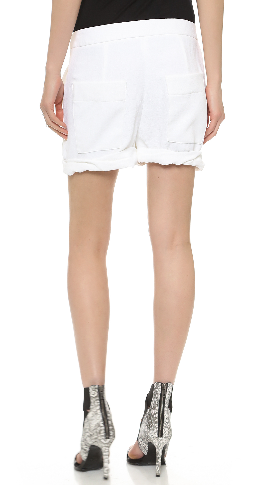 Helmut lang Origami Shorts Optic White in White | Lyst