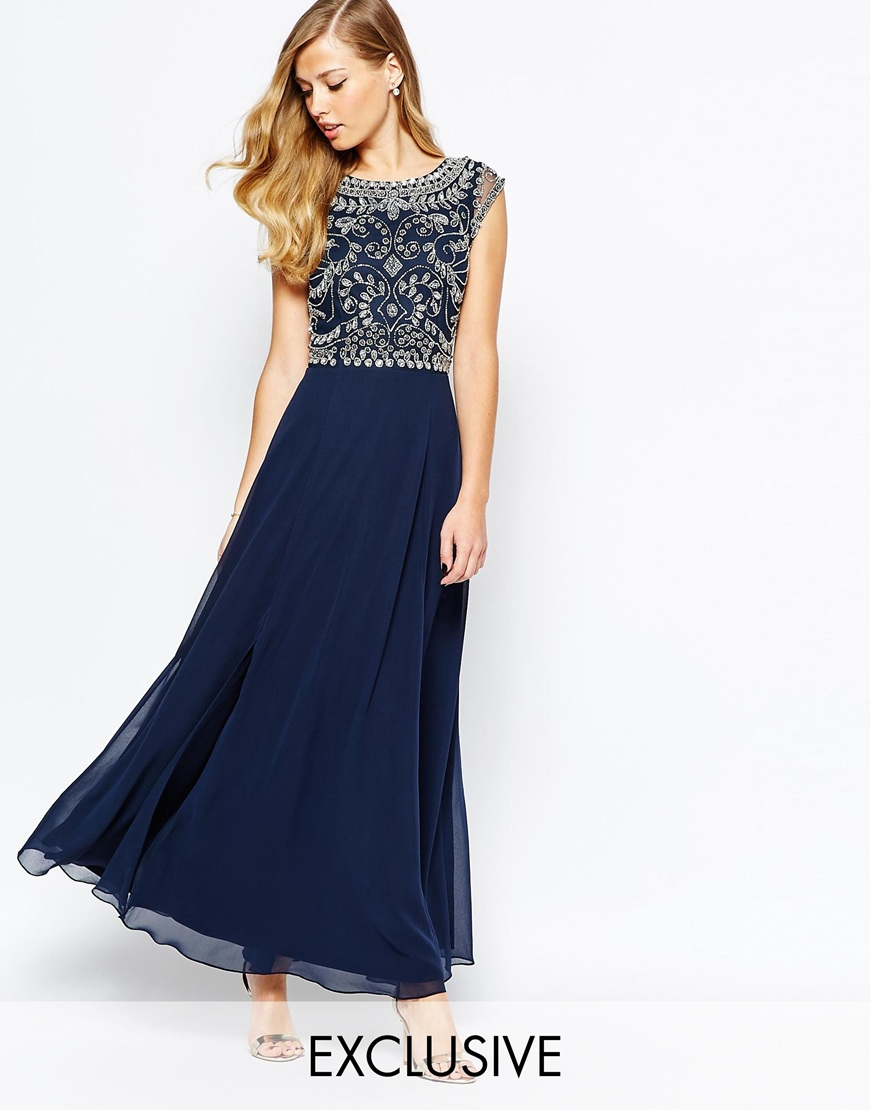 frock and frill embellished top maxi dress with thigh split in blue lyst. Black Bedroom Furniture Sets. Home Design Ideas