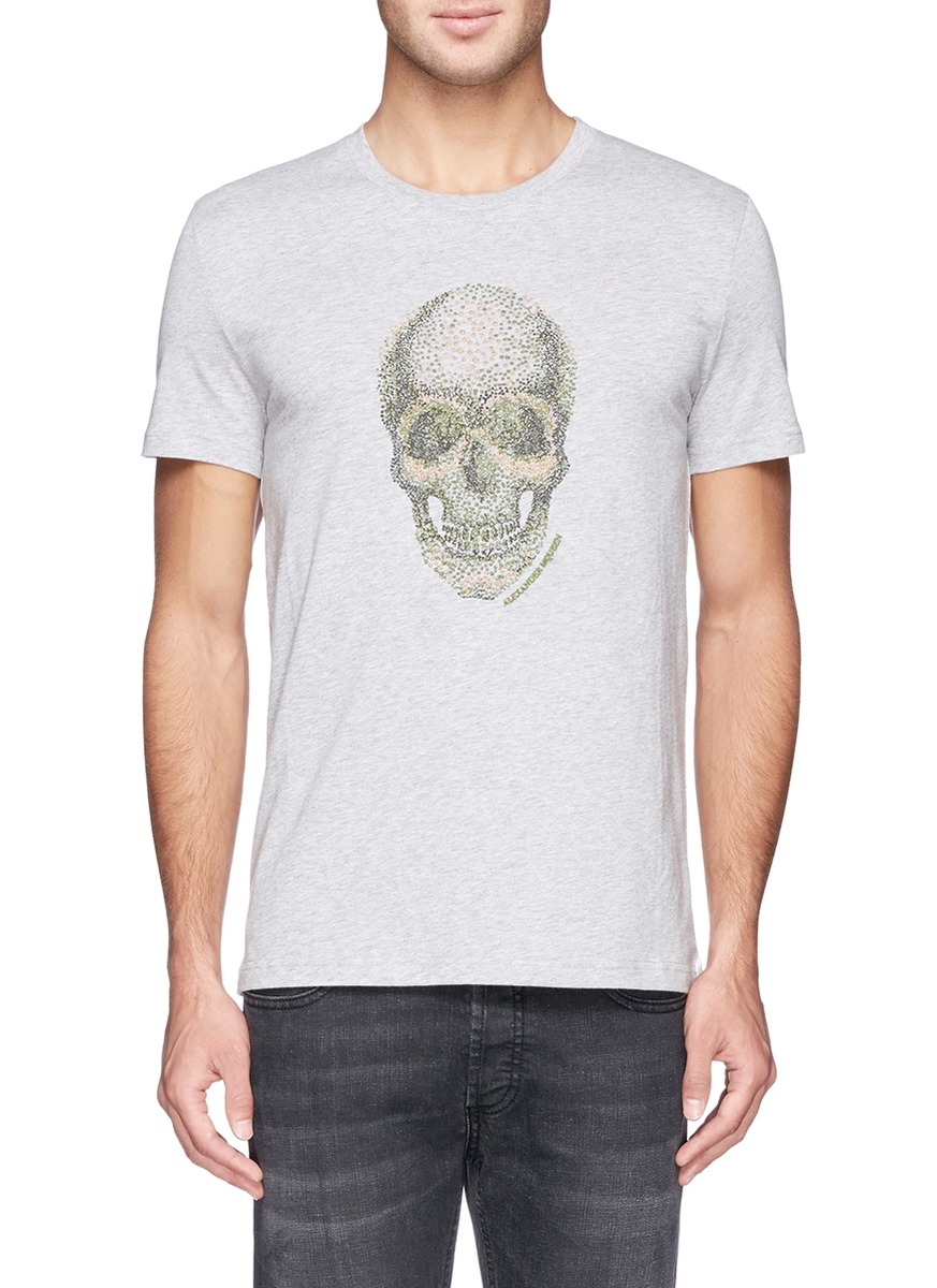 Lyst alexander mcqueen spot skull embroidery t shirt in for How to embroider t shirts
