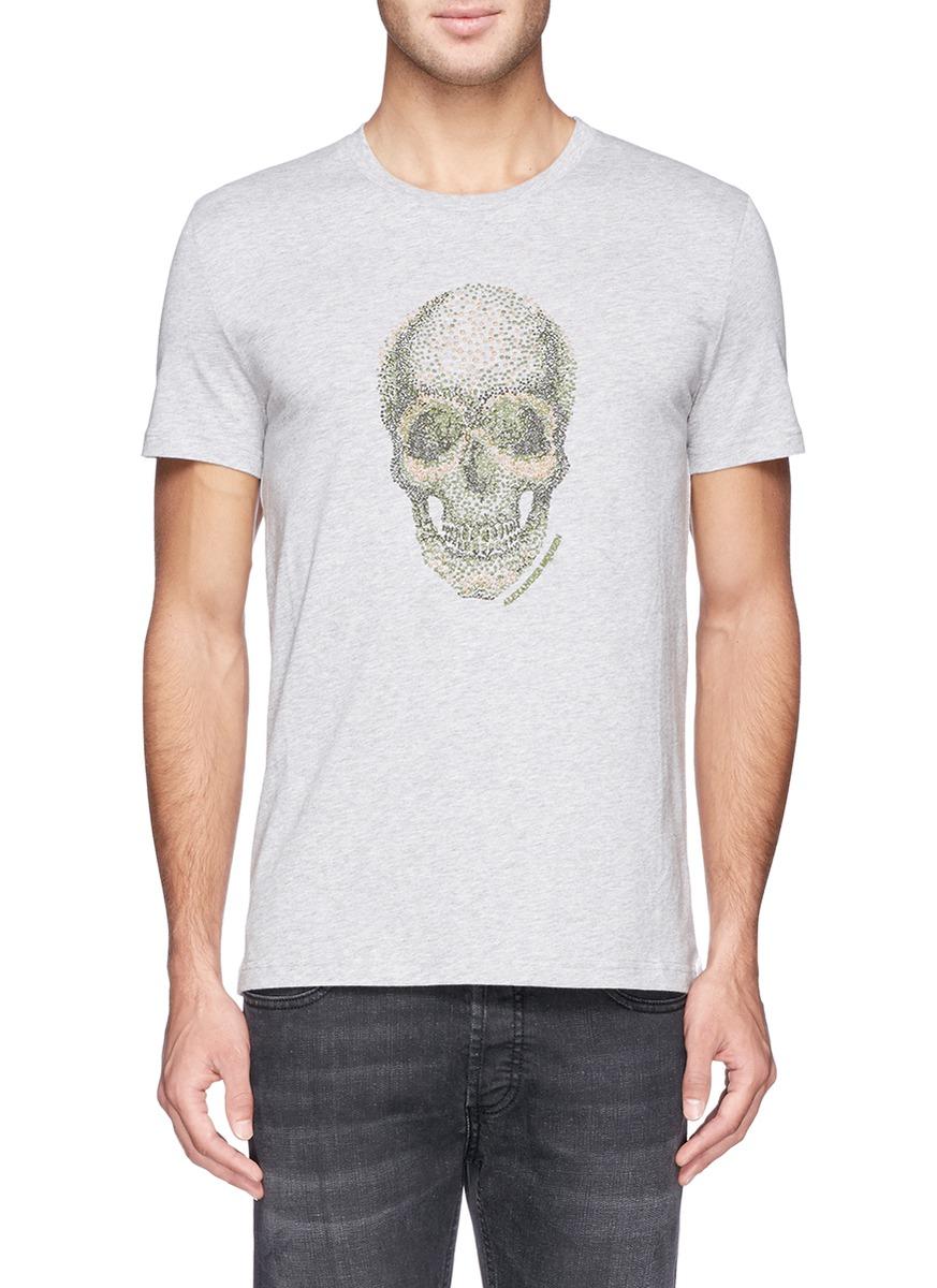 Lyst alexander mcqueen spot skull embroidery t shirt in