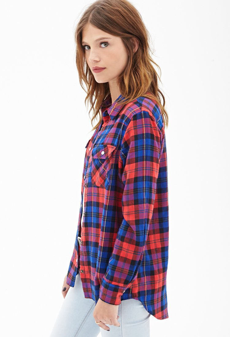 Forever 21 plaid western shirt in blue lyst for Flannel shirts for womens forever 21