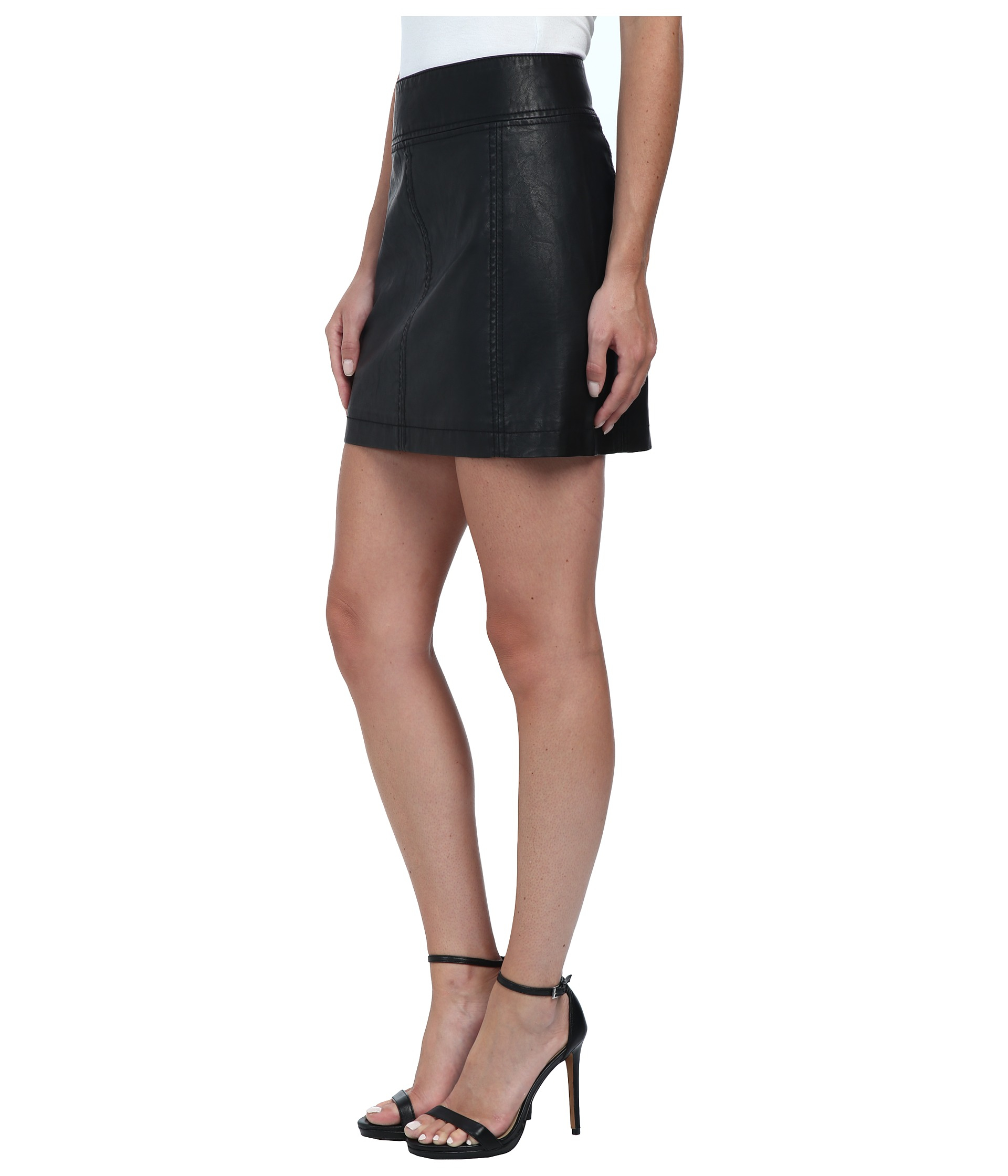 Free people Zip To It Vegan Leather Mini Skirt in Black | Lyst