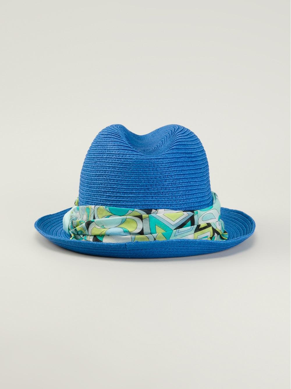 Lyst - Emilio Pucci Panama Hat in Blue 7e55f2e5a66e