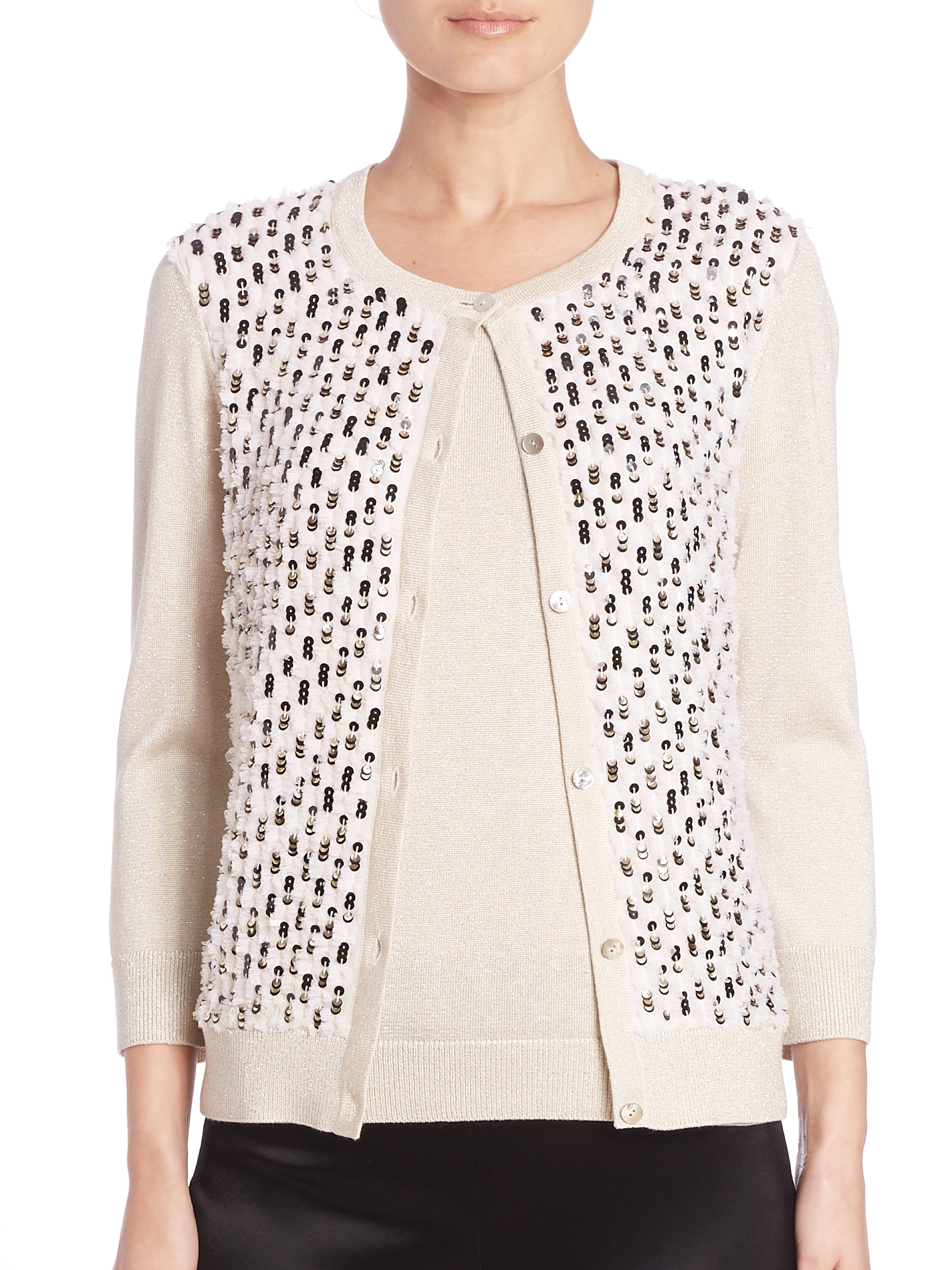 St. john Sequin Tulle-front Cardigan in White   Lyst