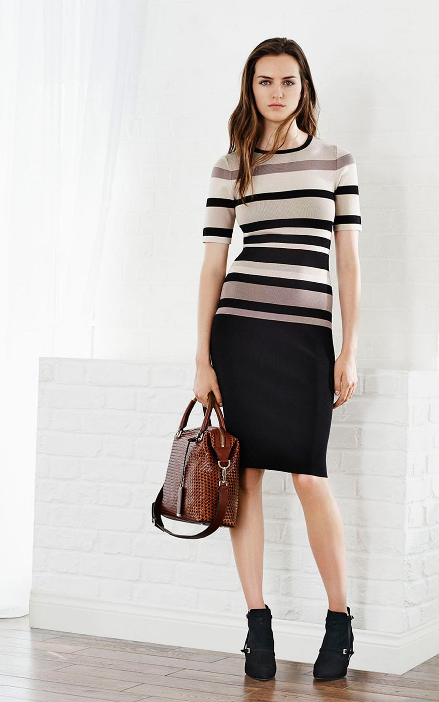 Lyst Karen Millen Graphic Shiny Rayon Stripe Knit Dress