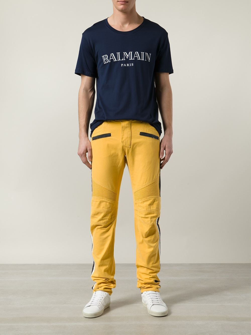 bcfe0885 Balmain Straight Leg Biker Jeans in Yellow for Men - Lyst