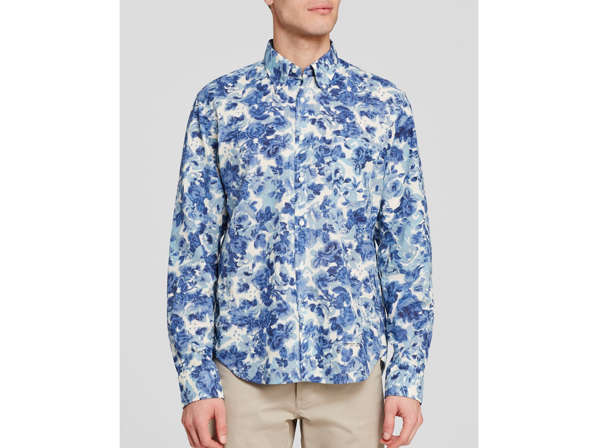 Gant Floral Pattern Button Down Shirt - Slim Fit in Blue for Men ...